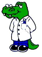 Photo of animated gator in Doctors white coat