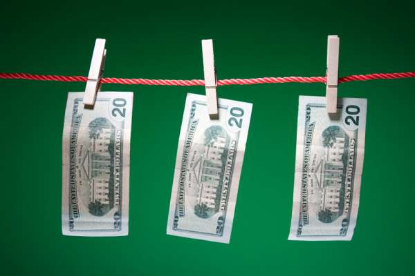 Money on a laundry line