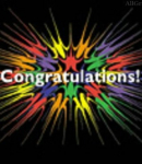 Congratulations photo with colorful stars
