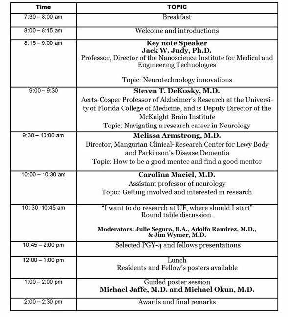 Research Day Schedule in Photo format
