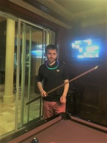 resident playing pool