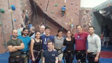Residents at climbing wall