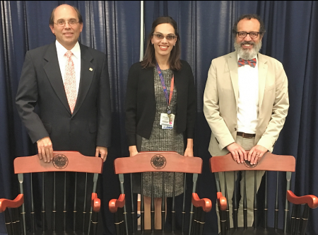 Photo (From left) James Wymer, M.D., Ph.D., Katharina Busl, M.D., and Demetrius Maraganore, M.D